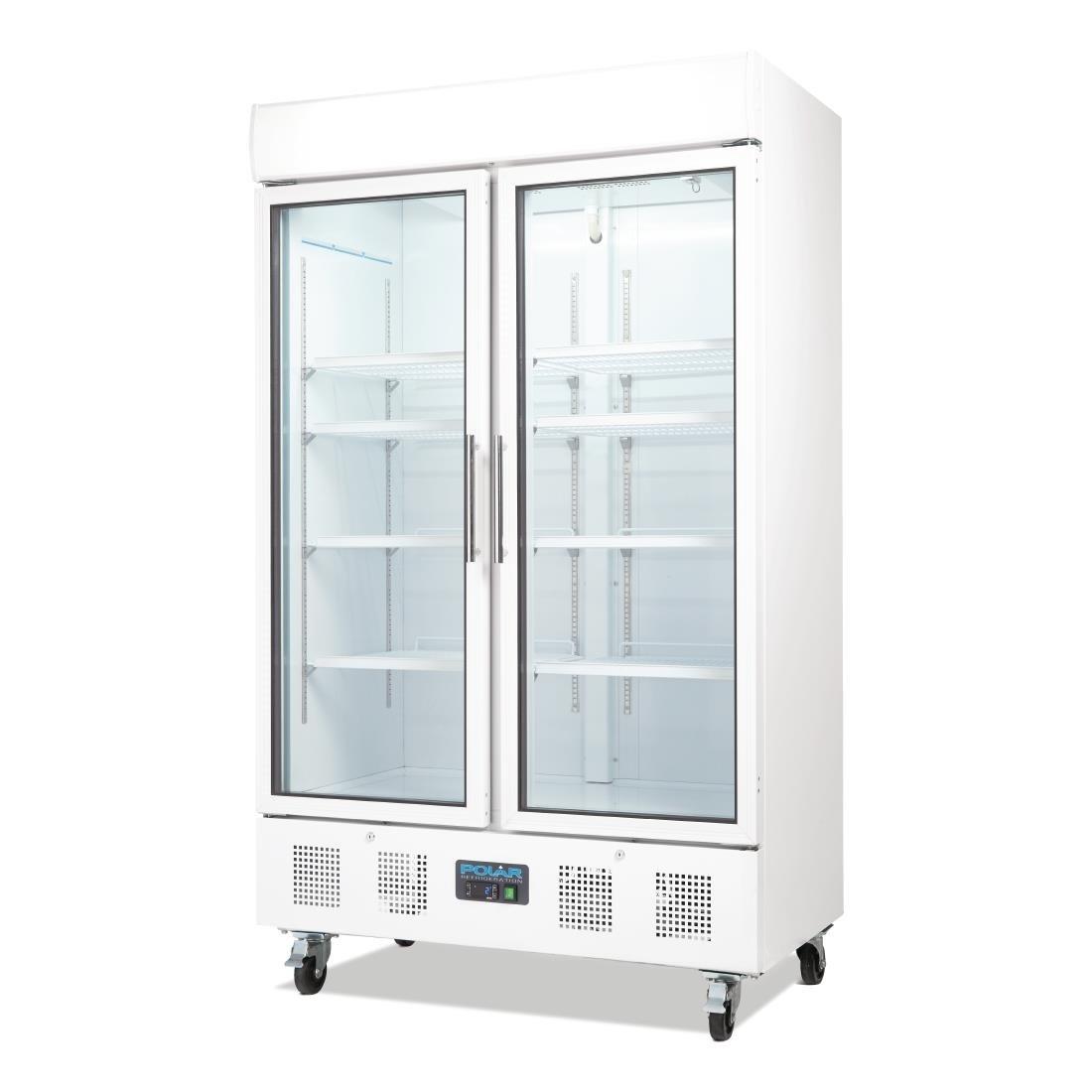 Polar G Series Upright Double Door Display Fridge 944ltr White Polar Refrigeration